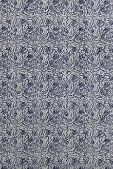 Cotton Twill Shirting Roses Print in Blue0