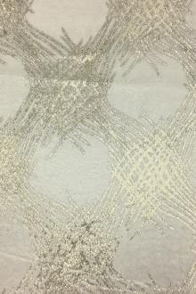 Silk Lurex Panne Velvet with Abstract Motif in White and Gold0