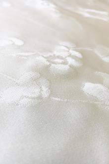 Ivory Silk Satin Jacquard with Dainty Flowers0