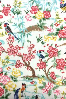 Japanese Textured Cotton Exotic Birds Floral Print 0