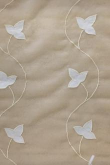White Silk Organza Embroidered with Vines and Leaves in Cream0