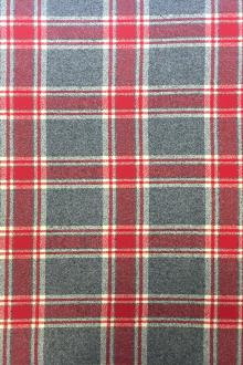 Cotton Mammoth Flannel Plaid in Grey and Red0