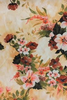 Prined Lightweight Silk Satin with Painterly Fall Flowers0