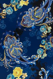 Printed Silk Charmese with Paisley and Floral Patterns0