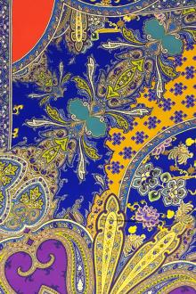 Printed Silk Twill with Large Mixed Paisley and Floral Patterns0
