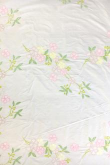 Embroidered Silk Shantung with Spring Flowers0