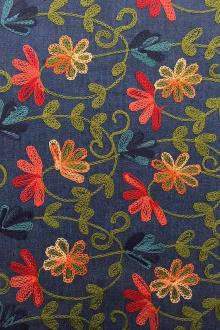 Cotton Denim with Floral Embroidery0