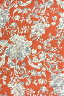 Floral and Paisley Pattern Silk Blend Metallic Cloqué Brocade0