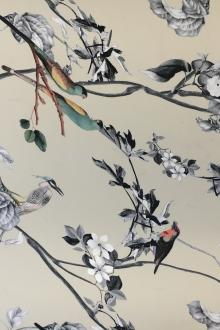Printed Silk Charmeuse with Bird in the Trees0