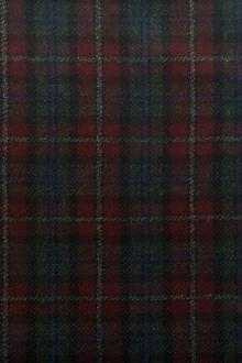 Italian Wool Cashmere Tartan Plaid in Bordeaux and Green0