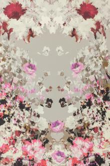 Printed Heavy Silk and Wool with Large Sections of Painterly Florals0