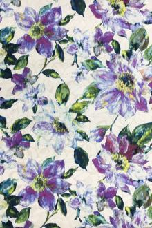 Silk and Cotton Blend Jacquard with Abstract Watercolor Flowers0