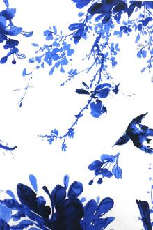 Cotton Spandex Sateen With Blue Birds Print0