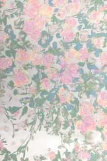 Pigment Printed Silk Satin with Impressionist Roses0