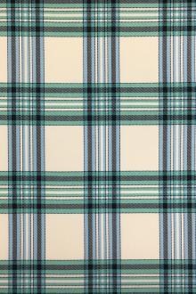 Italian Wool Lycra Plaid in Green and Blue0