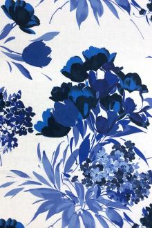 Handkerchief Linen Floral Print in White and Blues0
