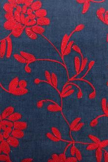 Floral Embroidered Cotton Denim0
