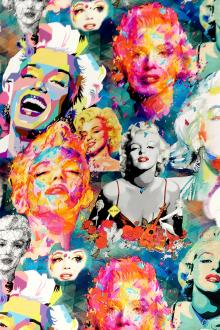 Printed Silk Charmeuse with Marilyn Monroe Art 0