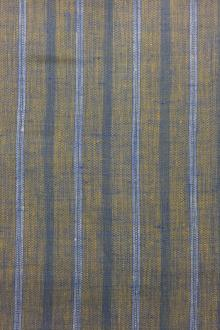 Linen Stripe in Blue and Gold0