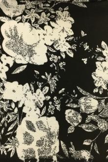 Polyester Spandex Piqué Floral Knit in Black and Ecru0