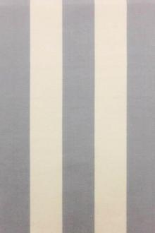 "Cotton Upholstery 1.5"" Stripe In Silver And Ivory 0"