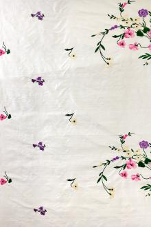 Embroidered Silk Shantung with Color Floral Degradé0