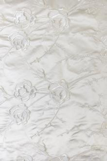Embroidered Roses on Ivory Silk Satin0