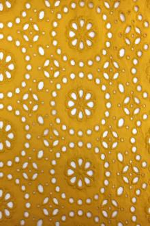Japanese Cotton Eyelet in Mustard Yellow0