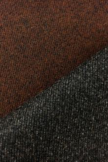 Italian Doubleface Virgin Wool Coating in Burnt Umber and Gray0