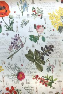 Floral Illustrations Cotton Broadcloth Print0