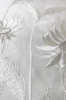 Polyester Satin with Embroidered Sunflower Border0