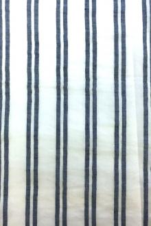 Rayon Linen Woven Stripe in White and Navy0