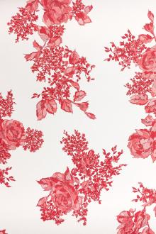 Printed Silk Couture Gazar with Roses0