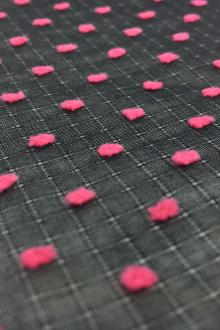 Cotton Plumetis in Black Fuchsia0