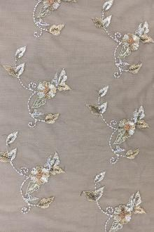 REDUCED Beaded Floral Motifs on Brown Tulle0