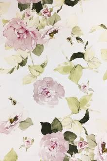 Printed Silk and Cotton Satin with Flowers0