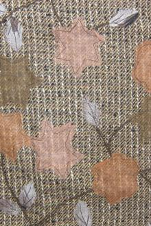 Embroidered Raw Silk Tweed with Fall Leaf Cut Outs0