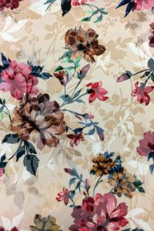 Italian Silk Rayon Burnout Velvet With Floral Motif0