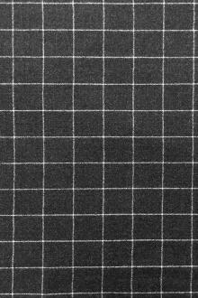 Italian Virgin Wool And Lycra Window Pane Flannel in Graphite0