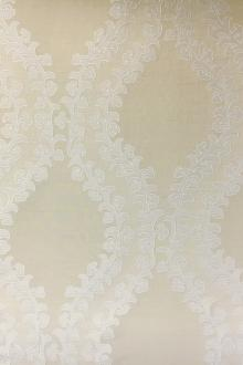 Ivory Silk Brocade with Embroidered Filigree0