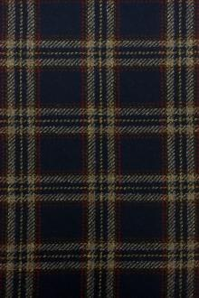 Italian Wool Cashmere Tartan Plaid in Navy and Sand0