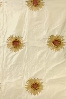 Embroidered Iridescent Silk Shantung with 3D Sunflowers0