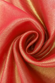 Microfiber Gold Metallic Chiffon in Red0