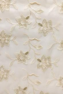 Silk Organza Embroidered with Metallic Flowers0