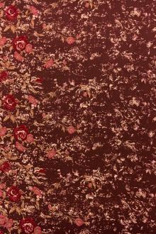 Brocade Panel with Metallic Cloqué Leaves and Floral Border0