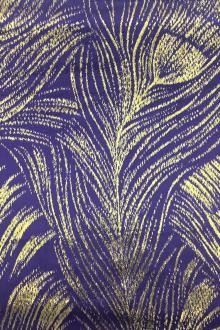 Silk Lurex Panne Velvet with Peacock Feather Motif in Violet Gold0