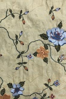 Silk Brocade Embroidered with Florals and Vines0