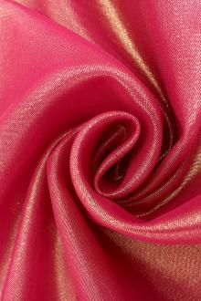 Microfiber Gold Metallic Chiffon in Raspberry 0