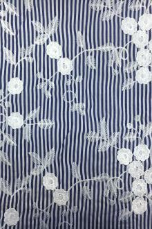 Japanese Cotton Floral Embroidery on Stripe 0