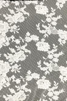 Embroidered Cotton Point d'Esprit with Floral Single Scallop0